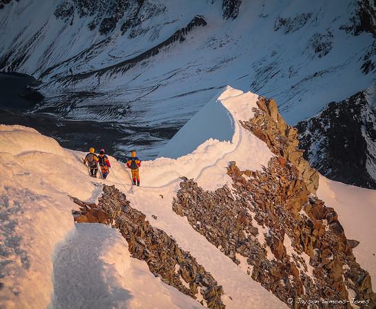 Descending the knife edge summit ridge on Huayna Potosi....Bolivian Andes