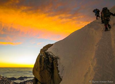 Sunrise Summit on Huayna Potosi (6088M)....Bolivian Andes