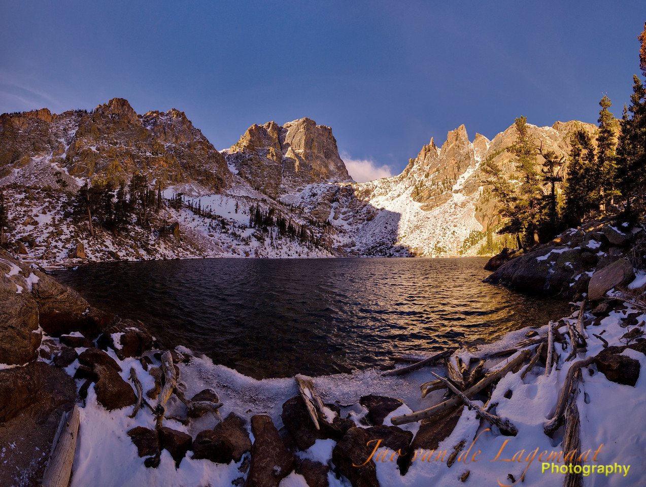 180 degrees cylindrical panorama of Emerald lake and Hallett peak at dawn in Rocky Mountain National Park, Colorado