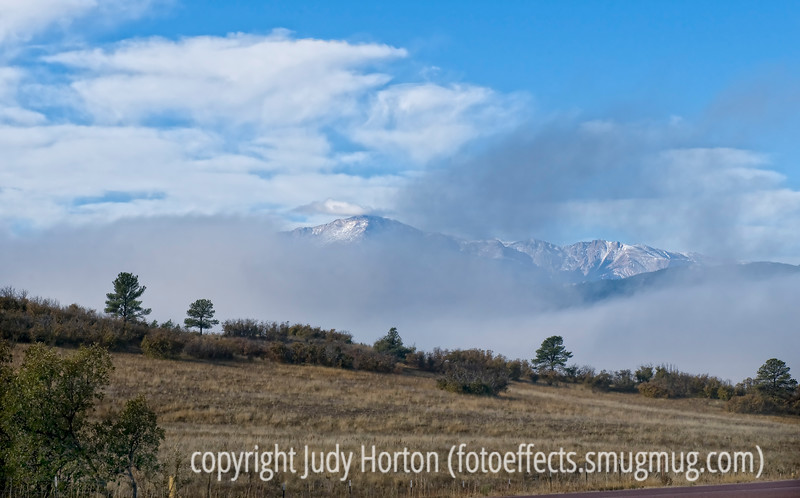 Fog on Pike's Peak and the Front Range of Colorado