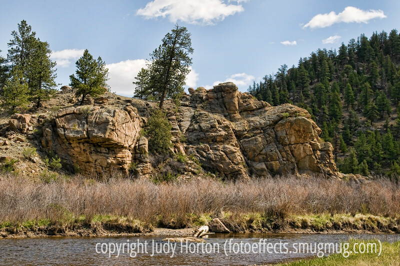 A view along the S. Platte River in Eleven Mile Canyon across from the Riverside Campground.