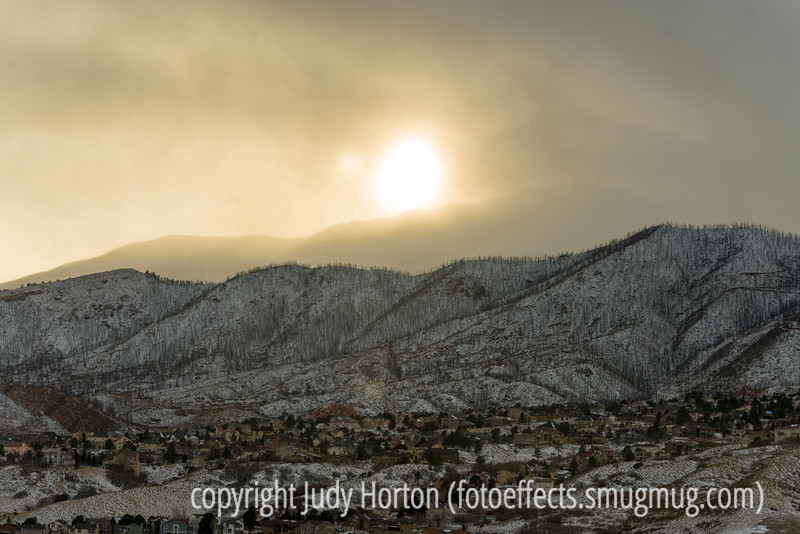 Winter in Colorado Springs (note the area burned by fire several years ago)