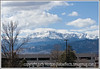 A view of a snow-capped Pike's Peak from an office parking lot.