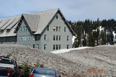 Lodge at Mt. Ranier, Washington.  Notice that the snow is over the tops of the cars, in late June!