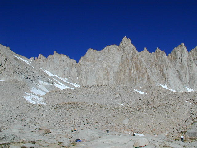Mount Muir and the view from Mount Whitney High Camp. July 2000