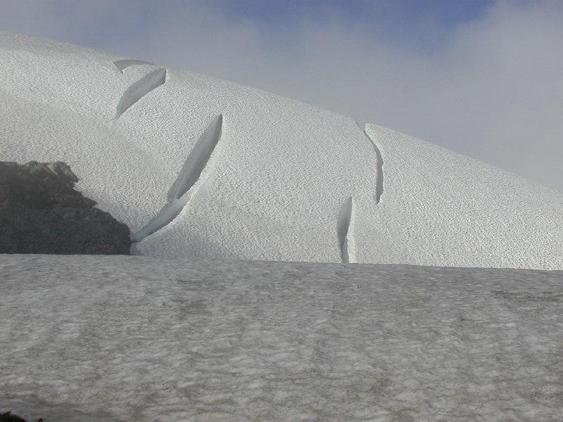 Crevases on the upper Sholes Glacier. Mt Baker