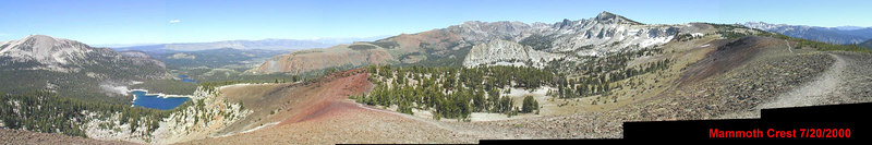 Mammoth Lakes panorama from the Mammoth Crest trail. July 2000