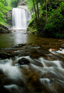 Looking Glass Falls is one of the most popular falls in the area.  It can be viewed roadside from US Hwy 276 about 5 miles past the entrance to Pisgah National Forest.