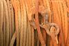 Texturas de los cables de hierro para sacar las barcas