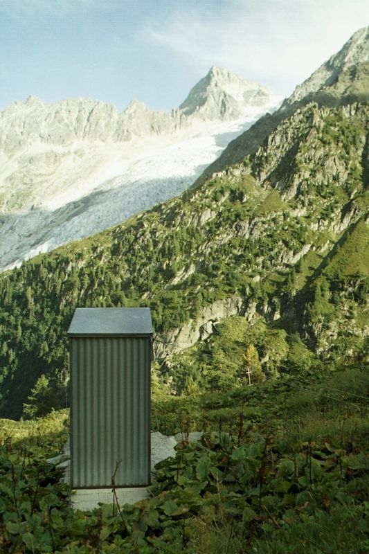 Outhouse overlooking Trient Glacier, above Trient, Switzerland