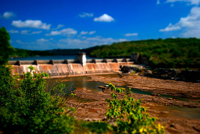 Tilt Shift image of Max Starcke Dam in Marble Falls, Texas
