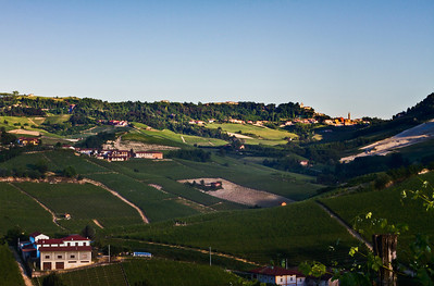 taken near Canubbi vineyards, looking toward Monforte d'Alba and Bussia vineyards at sunset.