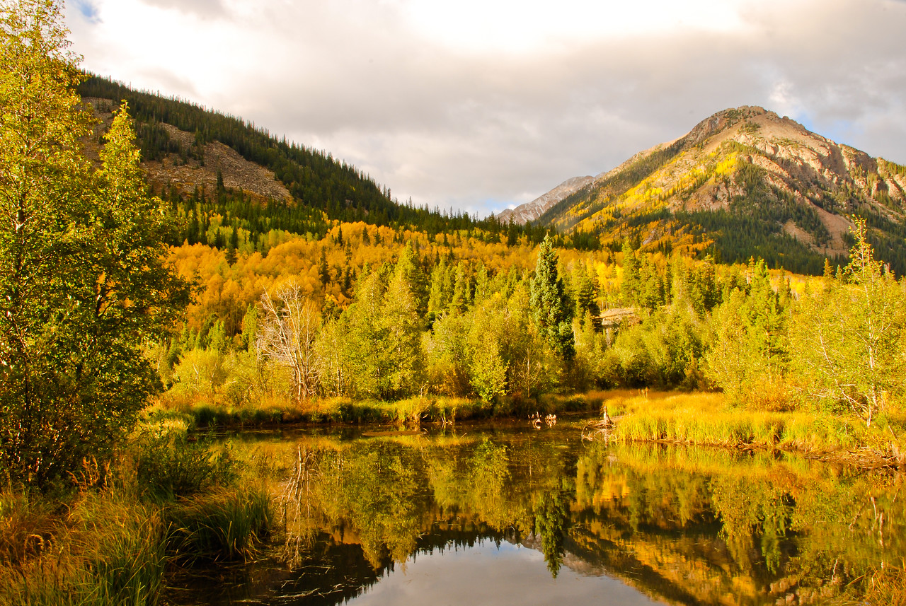 An early morning photo shoot on a very chilly fall morning in Park County, Colorado, just outside of Buena Vista. The light was pretty terrible all morning (it eventually began to rain), but this reflection shot caught my eye, duplicating the changing fall colors and making it even better.