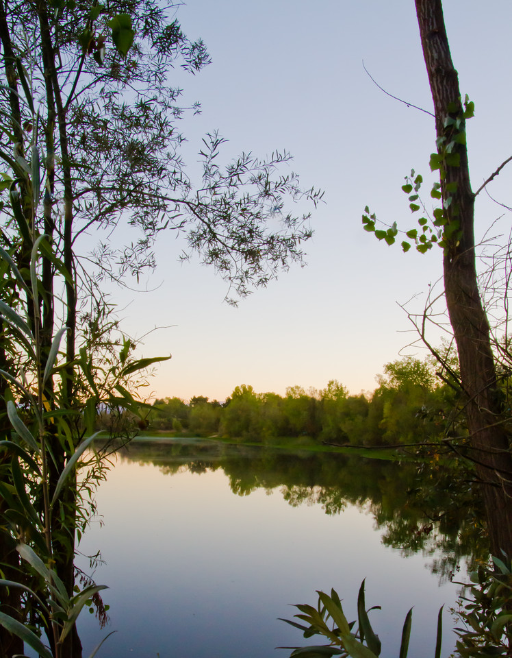 an early morning sunrise over the Russian River, deep in the heart of the winegrowing region well known for many varietals, but especially the Pinot Noir grape.