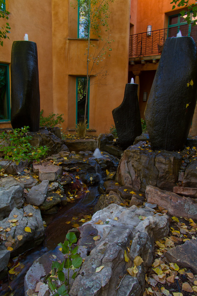 some of the many water features at El Monte Sagrado, Taos, New Mexico