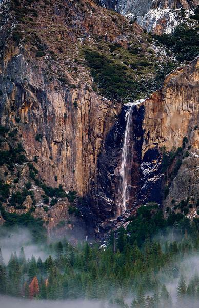 Setting Sun on Bridal Veil Falls, Yosemite Valley, Yosemite National Park