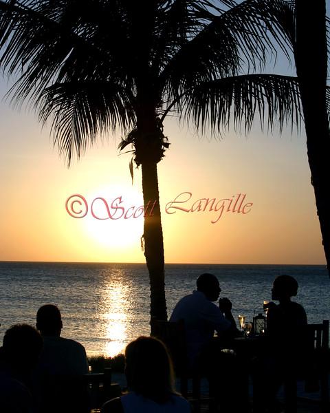 Sunset dinner on the beach in Aruba.