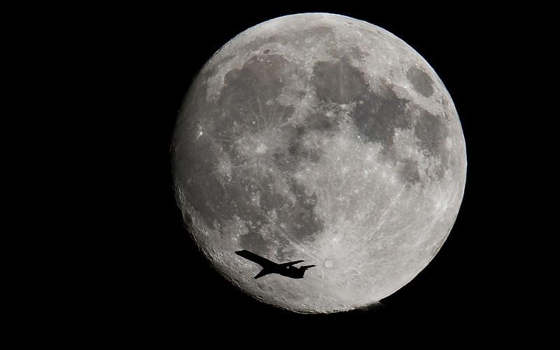 Moon, airplane, jet