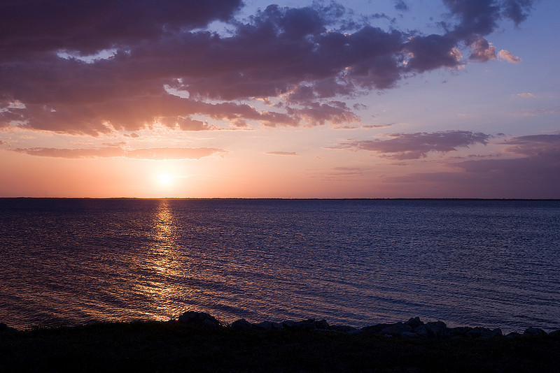 Sunset over Charlotte Harbor in Punta Gorda, Florida.