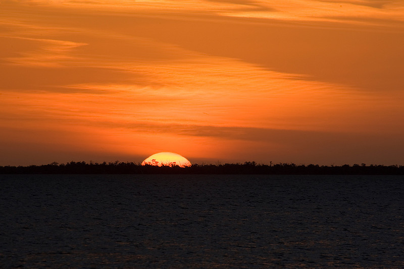 Sunset over Charlotte Harbor in Punta Gorda, Florida.