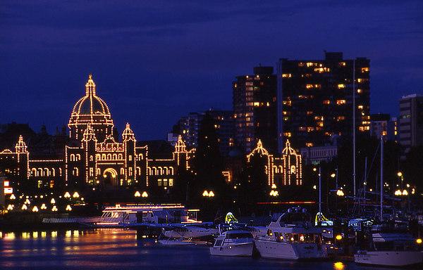 Victoria Legislature - British Columbia - Victoria legislature at night - original taken with Fuji Velvia slide film