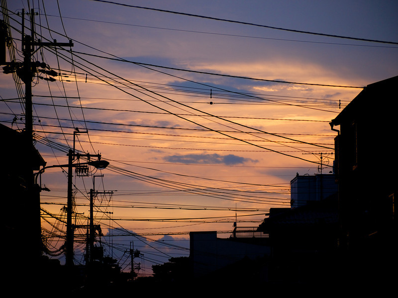 """Beautiful summer evening sky... in Japan (emphasize """"cables everywhere"""")."""