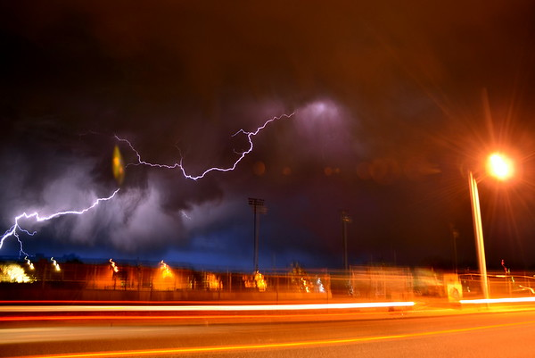 Lightning strikes in suburban Longmont, CO
