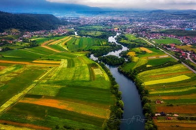 Areal shot of Bihac, Bosnia