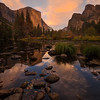 Morning glow over Yosemite valley