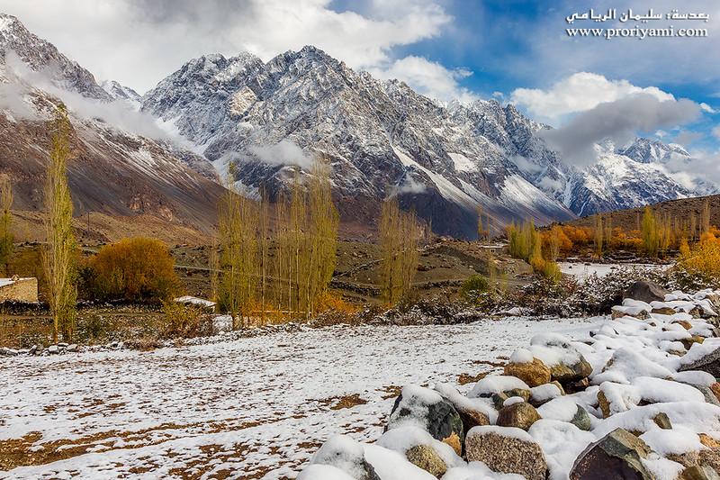 "fresh snowfall at Ghizer valley ""Pakistan""."