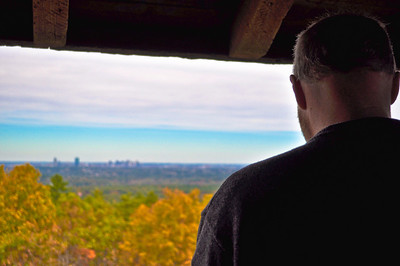 Sarge looks over the city and the fall foliage at the Blue Hills observation tower in Canton, MA on Columbus Day & his son's 6th birthday.