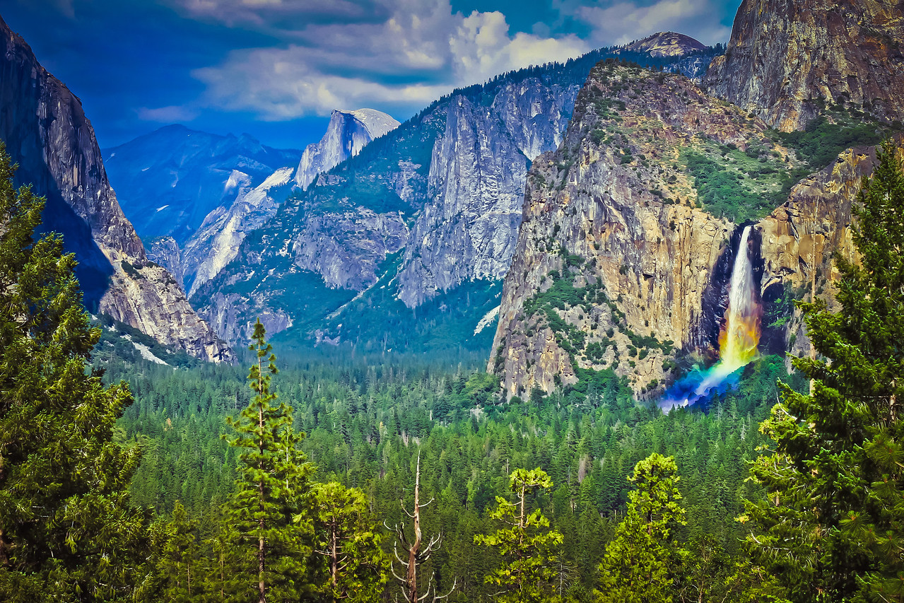 We were fortunate enough to see this short-lived wonder of a rainbow glistening at a lookout point in Yosemite National Park.