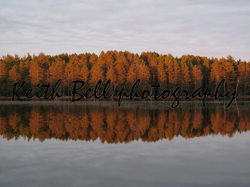 An autumn reflection scene of trees on the shore of Wisconsin River.