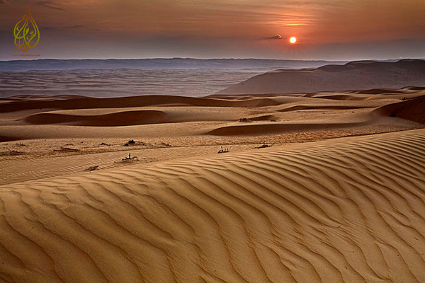 The beautifu sunrise over Sharqiya desert.