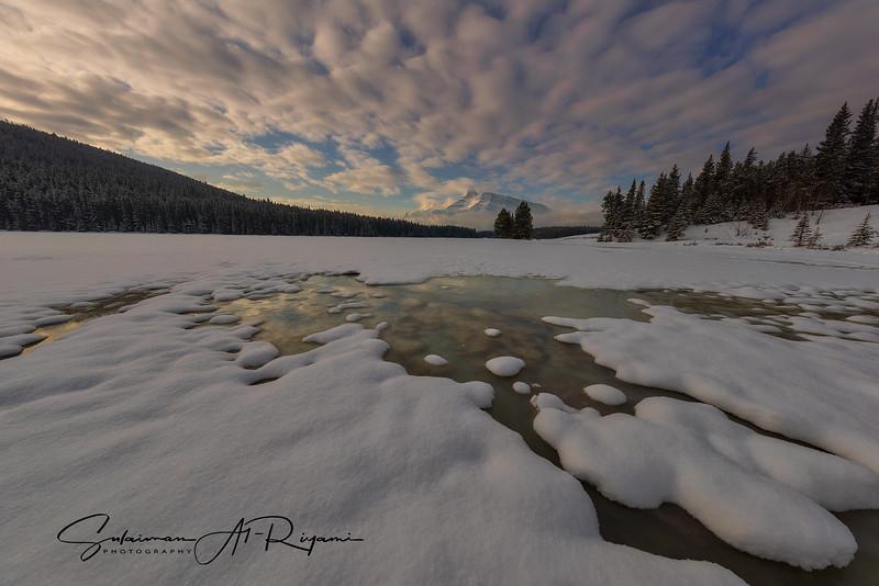 The frozen Two Jack lake
