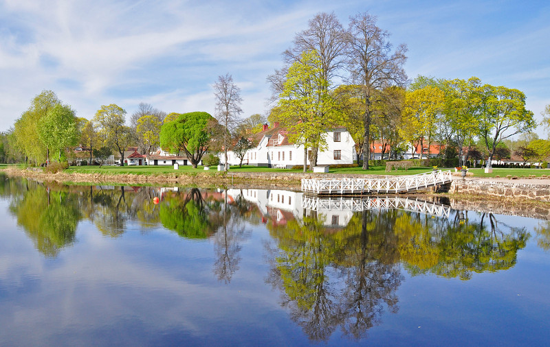 Charming cottages by the lakeside in spring