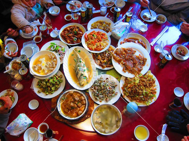 Chinese meal at restaurant, SE coastal village China by kstellick