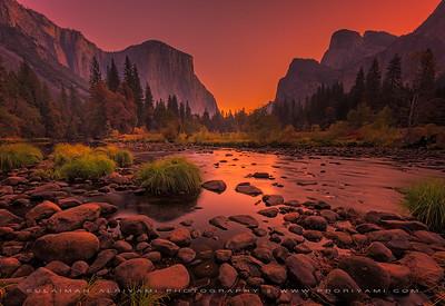 Morning glow on Yosemite valley