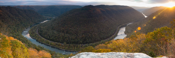 Sunrise in New River Gorge, West Virginia