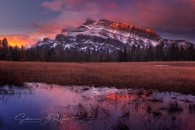 Sunrise over Two Jack Mountain, Canadian Rockies