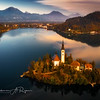Areal shot of the Lake Bled