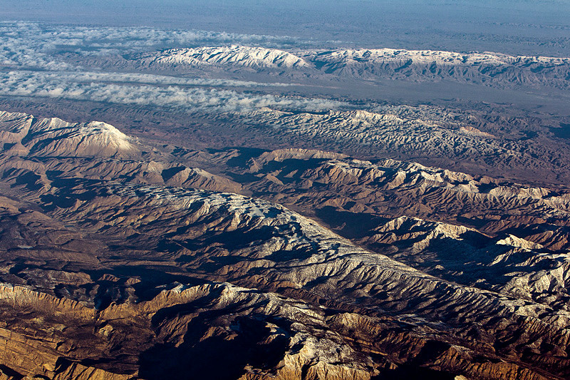 Arial shot form flight on board of Oman Air from islamabad to Muscat.