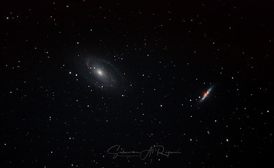 M81 Bode's galaxy on left and M82 Cigar galaxy on right.