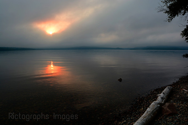 The Sun Setting at Hayes Lake, Terrace Bay, Ontario, Canada