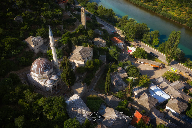 Areal view of the old town of Pocitelj.