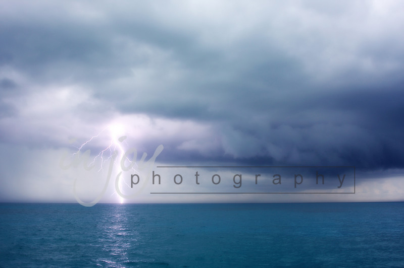 Lightning Over The Ocean