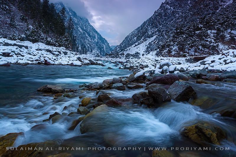 "Kalam River in winter, Swat valley ""Pakistan"""