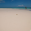 Frisbee player on Coral Beach, Harbour Island, Bahama