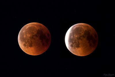 Två faser av månförmörkelse