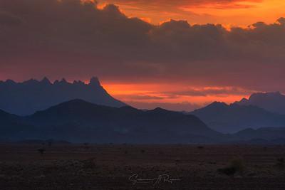Sunset over Hajar Mountain range, Oman